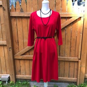 Red 3/4 sleeve dress from Avenue. Size 14/16